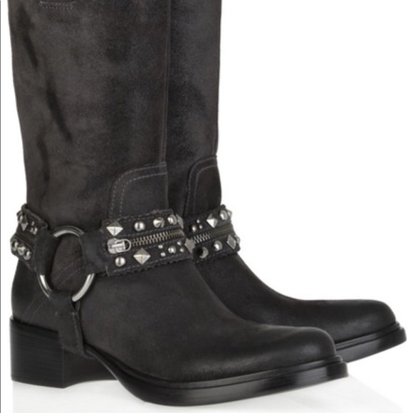 90b2f9c96c3 •Miu Miu• Studded Moto Boots. M 5abc22e845b30c598e50f448